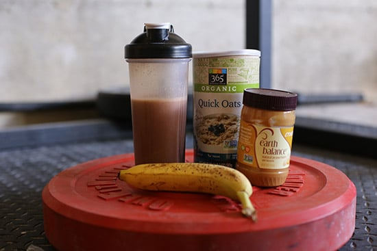 post workout meal smoothie fruit oatmeal peanut butter