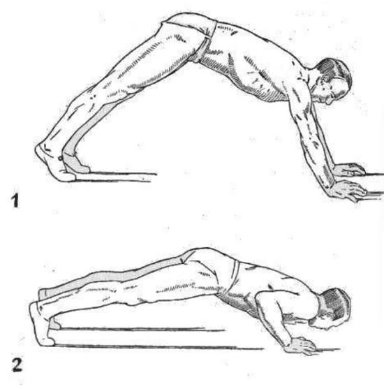 Strongman bodybuilder doing exercise for hindi pushup illustration.
