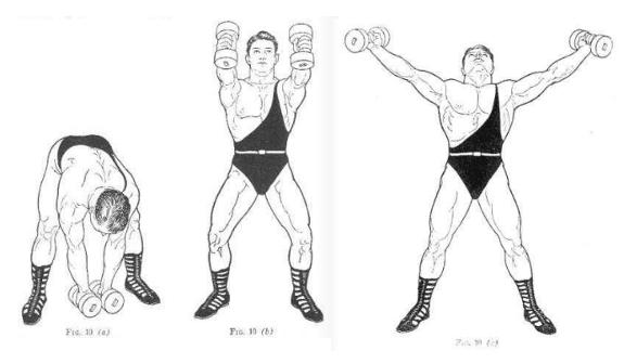 vintage oldtime strongman exercise dumbbell reach illustration