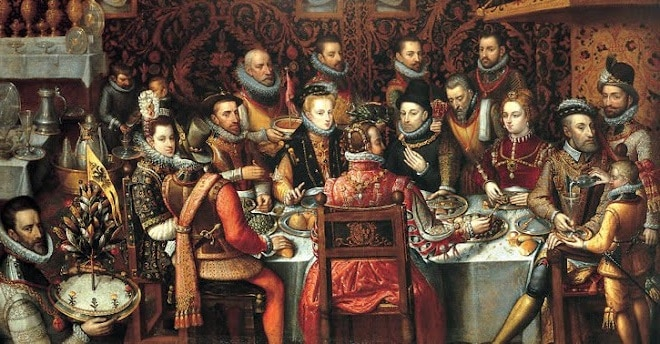 A painting of royal court dinner.