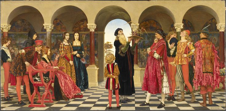 A painting of a medieval royal court.