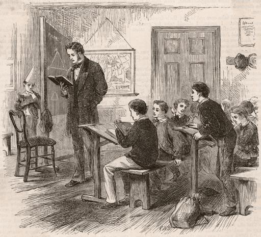 victorian school classroom young boy dunce cap in corner drawing
