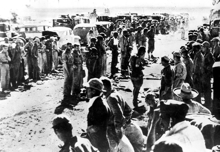 wwii soldiers in lines at base camp