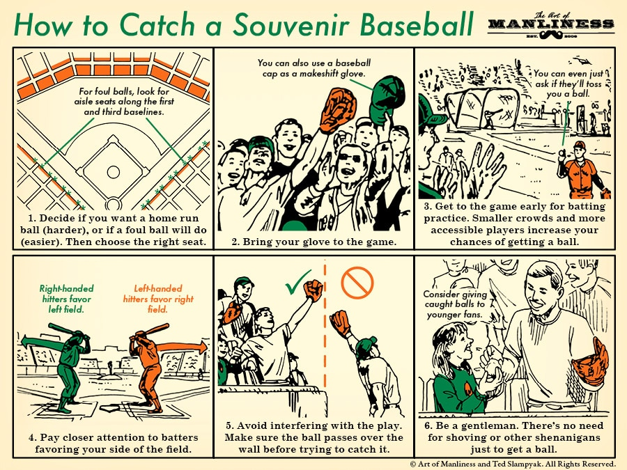 How to catch a ball at a baseball game illustration