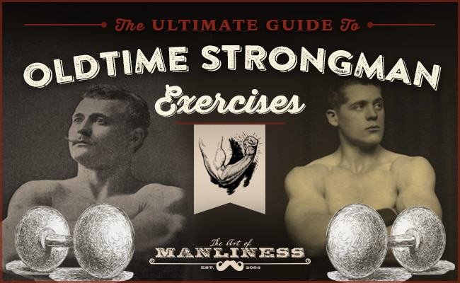 oldtime strongman exercises vintage bodybuilders illustration