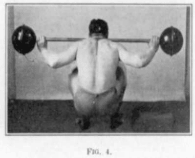 vintage oldtime strongman exercise barbell knee bend squat