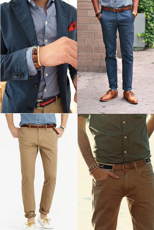 9420def8cef Add some visual interest to the neutral color of khakis with a belt.  Leather