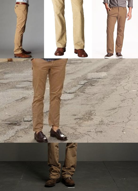 c7273e2da8b3 Top  Your khakis should skim the top of your shoes or drape 1-2 inches over  them. Middle  If you plan on showing off your shoes
