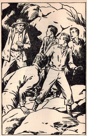 hardy boys illustration friends taking on bad guy
