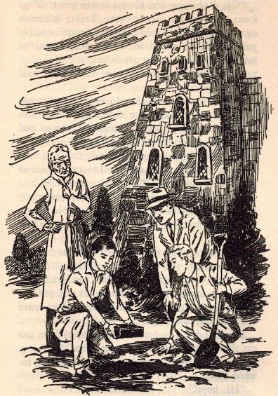 hardy boys illustration digging in front of castle