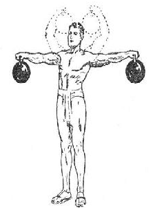 vintage oldtime strongman exercise lifting two kettlebells illustration