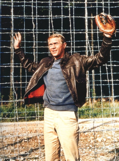 steve mcqueen great escape movie hands up with baseball mitt