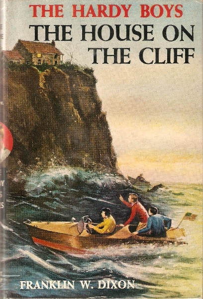 Book cover, the house on the cliff by Franklin w dixon.