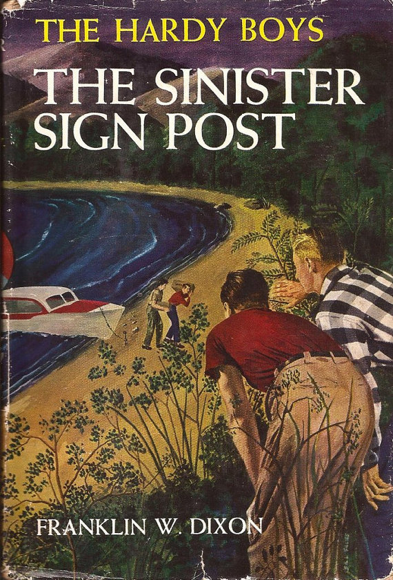 Book cover, the sinister sign post by Franklin w dixon.