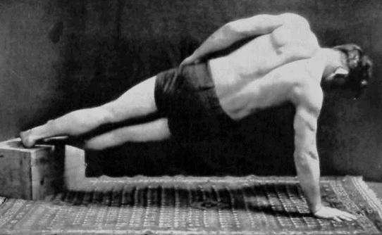 vintage oldtime strongman exercise side bridge plank