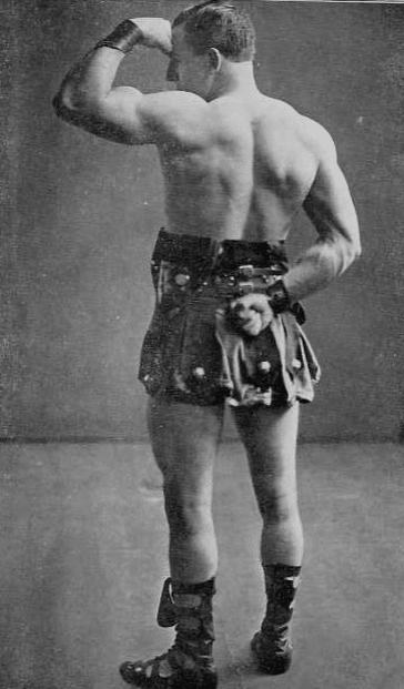vintage oldtime strongman bodybuilder flexing back and arms