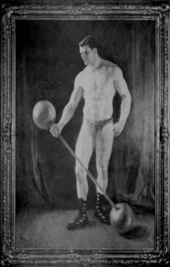 vintage oldtime strongman bodybuilder lifting dumbbell