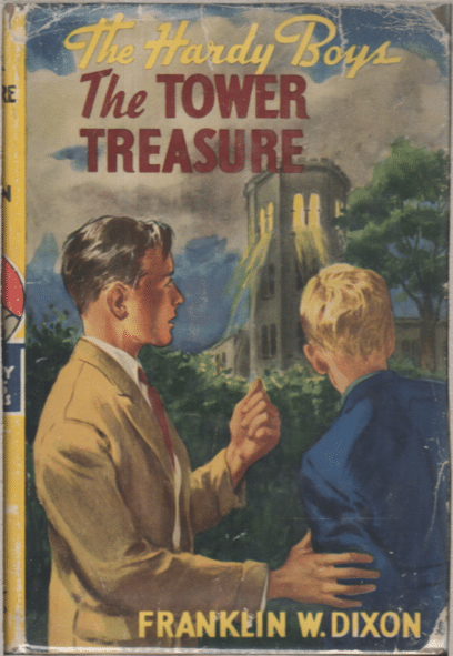 Book cover, the tower treasure by Franklin w dixon.