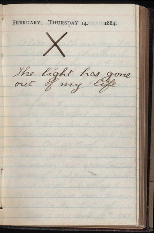 Roosevelt's diary entry when his wife and mother died on the same day.