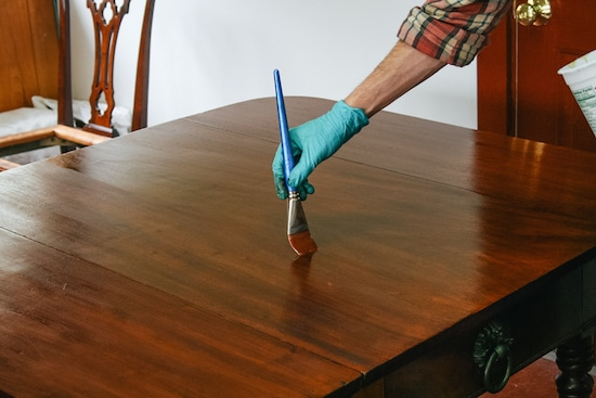 finishing handmade wood table with stain