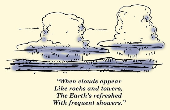 clouds like rocks and towers weather proverb illustration