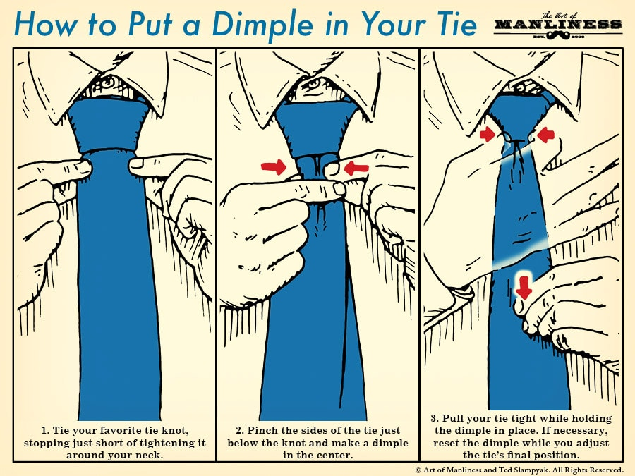 how to put a dimple in your tie illustration