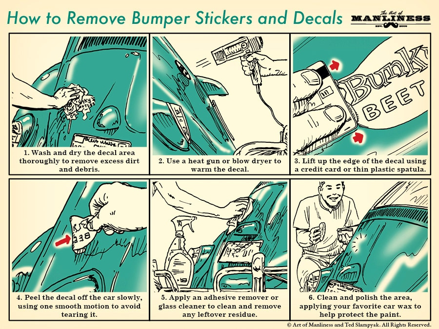 how to Remove Car Decals bumper stickers illustration