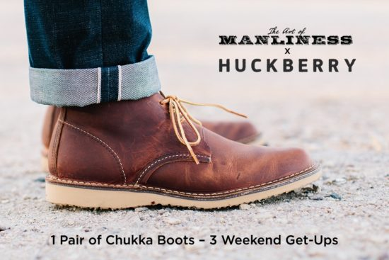 red wing chukka boots with rolled jeans close up