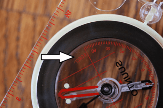 declination marks on compass