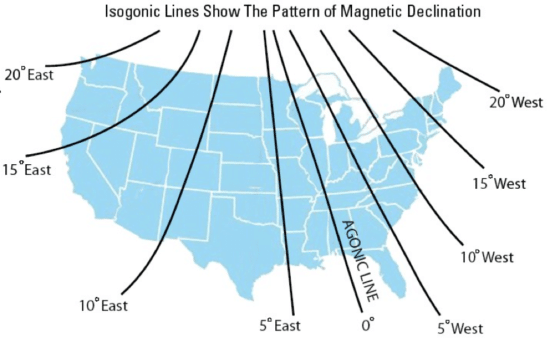 isogonic lines show magnetic declination
