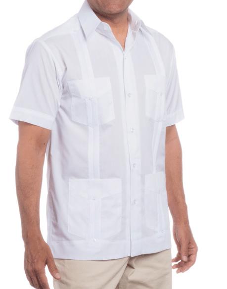 Guy wearing a white half sleve shirt.