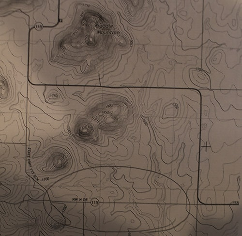 topographic topo map with roads mountains