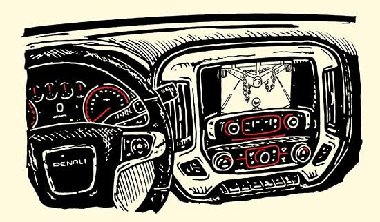 gmc sierra truck interior rear camera illustration
