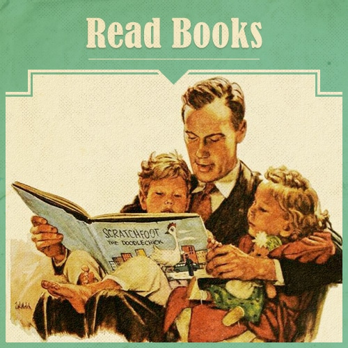 Father and Children Reading Book illustration.