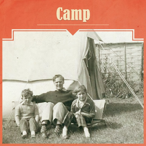 Vintage Father and Children Camping.