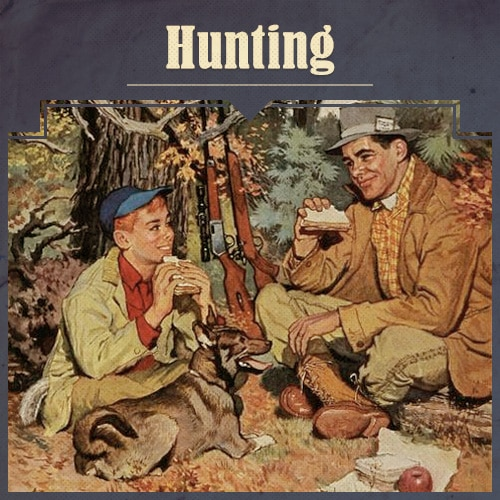 Father and Child Hunting illustration.