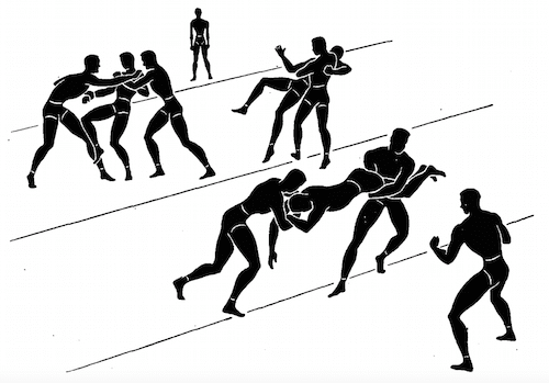 wwii strength and conditioning exercises goal line wrestling illustration