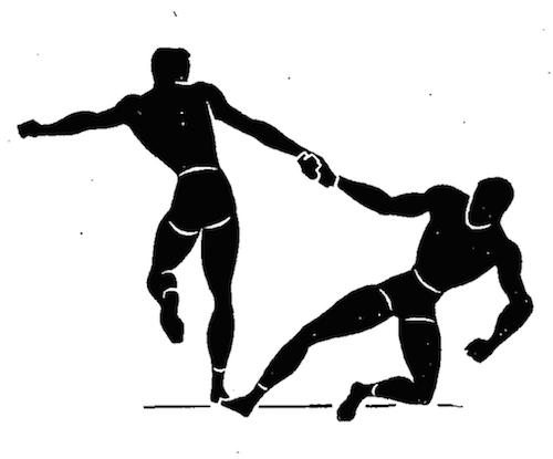 wwii strength and conditioning exercises hop and pull hands illustration