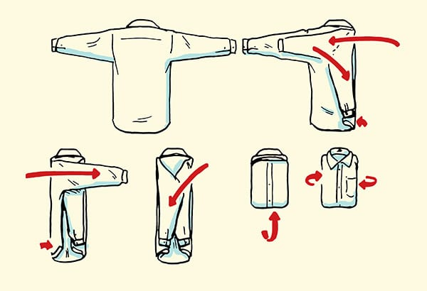 how to fold a dress shirt for a suitcase