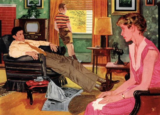 a511a8dc41 painting vintage family sitting around in hot house trying to stay cool