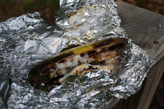 banana boat campfire dessert in tin foil