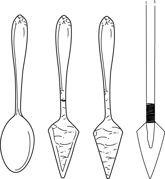 sharpened spoon spear survival hack illustration