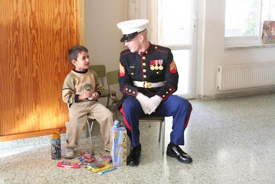 bo pryor marine embassy guard talking with little boy