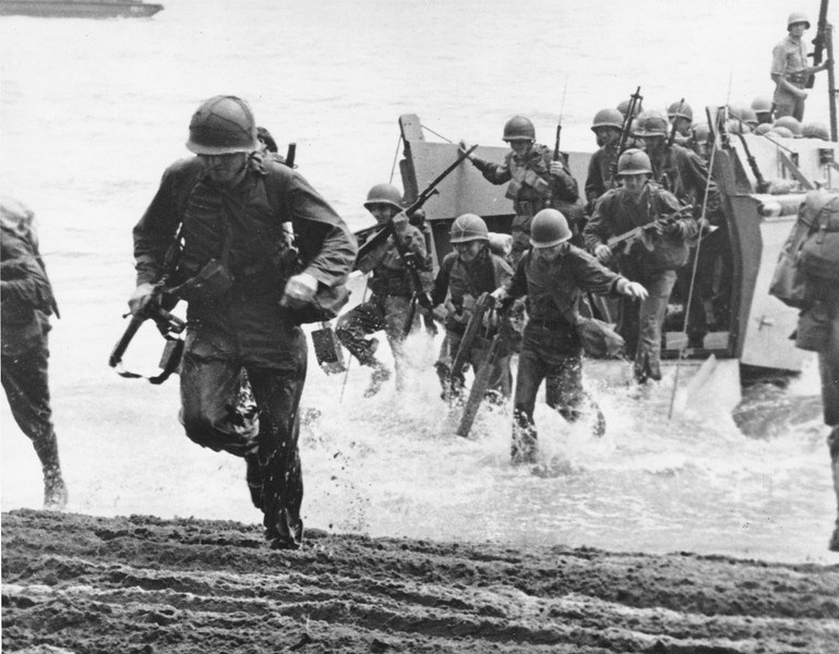 1942: U.S. Marines Guadalcanal Island.