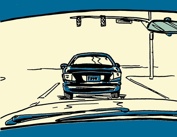 car stopped at stoplight illustration