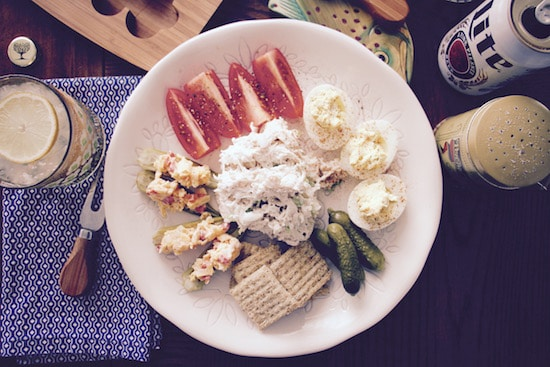 homemade Chicken Salad Plate with deviled eggs okra tomatoes