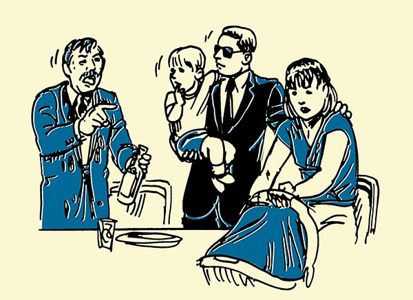 family being accosted by drunk man illustration