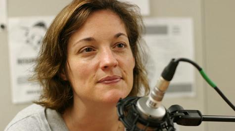 susan wise bauer professor writer in radio studio