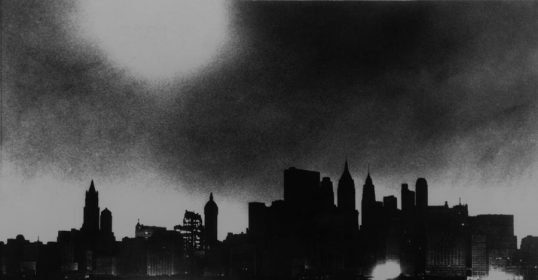vintage city skyline during blackout
