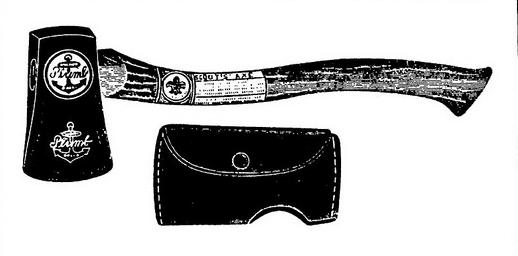 vintage hatchet with leather sheath illustration